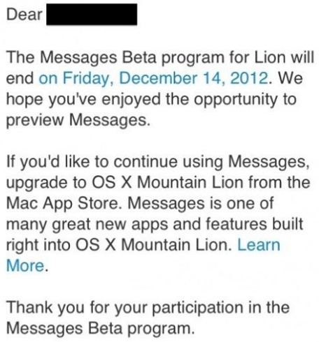 Messages beta for OS X Lion users ends December 14