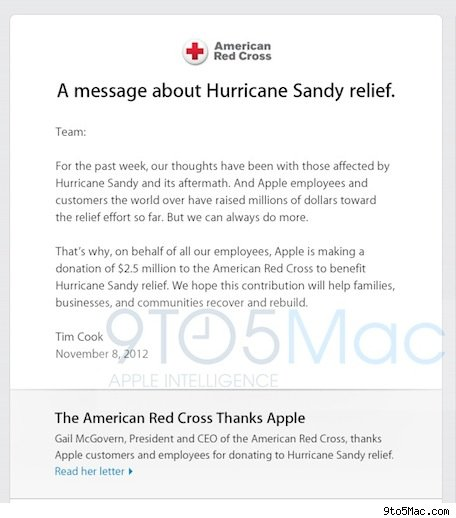 Apple donates $25M to aid Hurricane Sandy victims