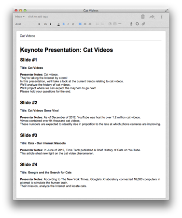 how to add presenter notes in keynote