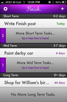 Finish for iPhone is a simple, handy task manager