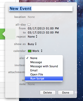 Triggering AppleScripts from Calendar Alerts in Mountain Lion
