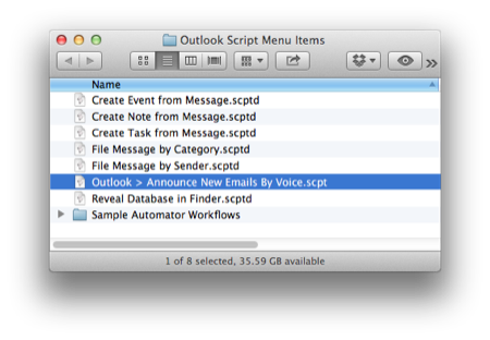 AppleScripting Microsoft Outlook  Announce New Emails By Voice