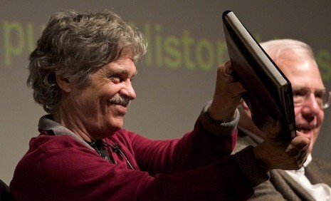 Alan Kay with Dynabook prototype