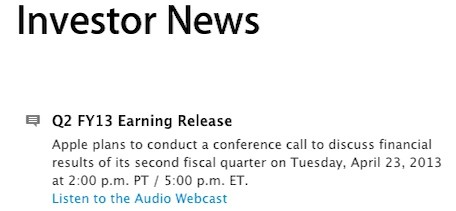 Apple to release Q2 2013 earnings results on April 23