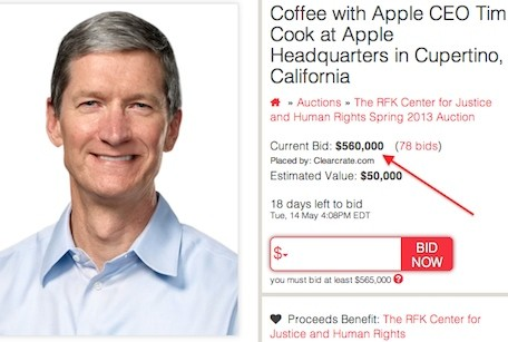 Bidding for coffee with Tim Cook breaks $550,000