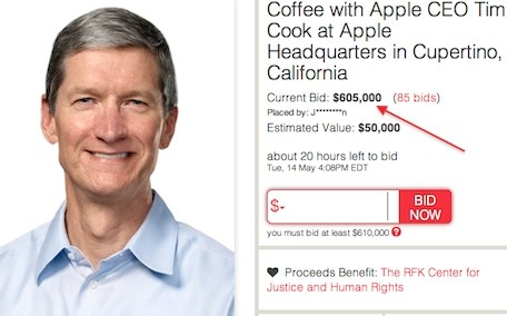 'Coffee with Tim Cook' auction ends Tuesday afternoon, current bid is $605,000
