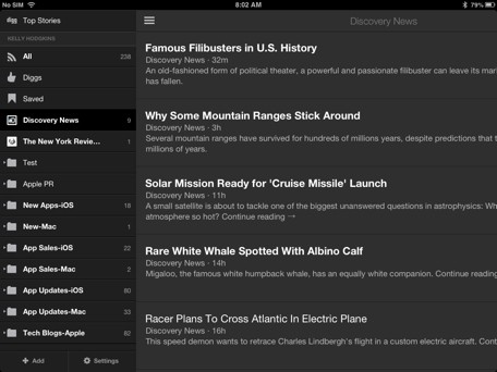 RSS Reader RoundUp Digg Reader is a nimble reader for mobile users