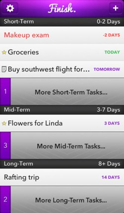 Finish 20 for iPhone adds reminders, rewards and more