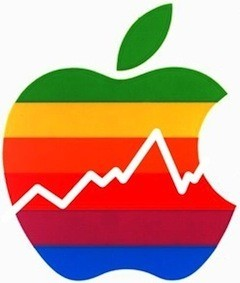 Apple-rainbow-logo-with-stock-chart