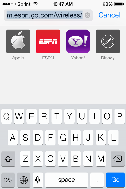How to search a webpage for a specific word in mobile Safari