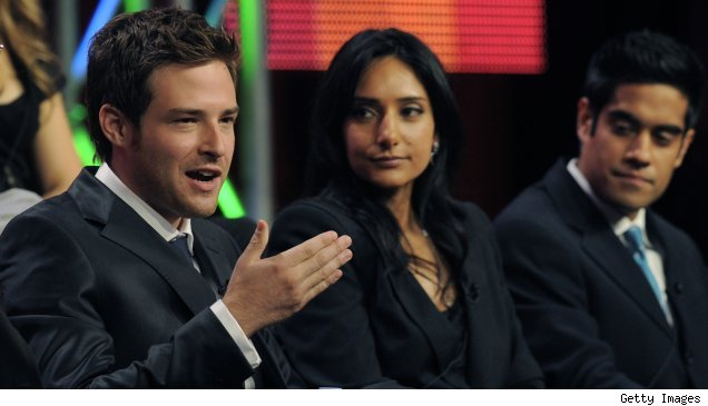 Ben Rappaport, Rebecca Hazlewood, and Sascha Dhwan on the TCA panel for NBC's 'Outsourced'