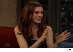Anne Hathaway Talks 'Simpsons' Emmy on 'Late Night'