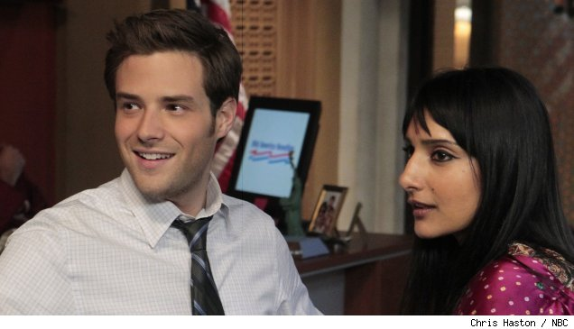 Ben Rappaport and Rebecca Hazlewood in 'Oursourced' - 'Home for Diwalidays' on NBC