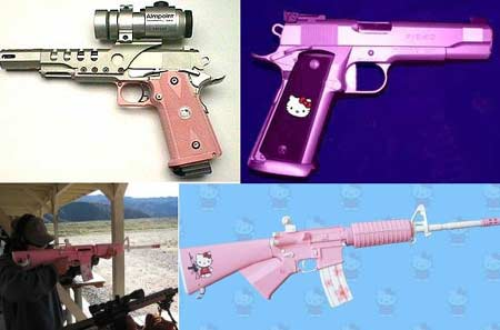 While this isn't quite camouflaging, Hello Kitty firearms are lady-friendly