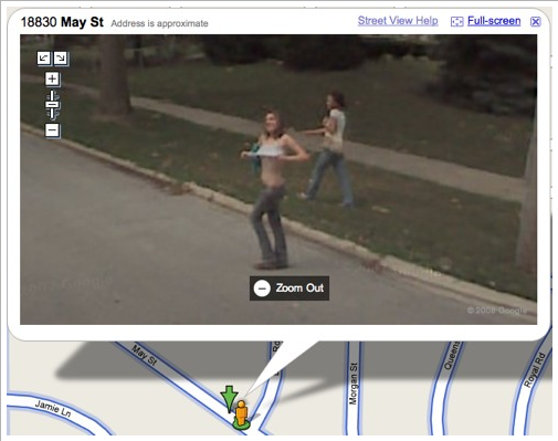 google earth street view funny. Girl Flashes Google Car