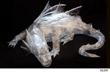 tape sculpture of dragon