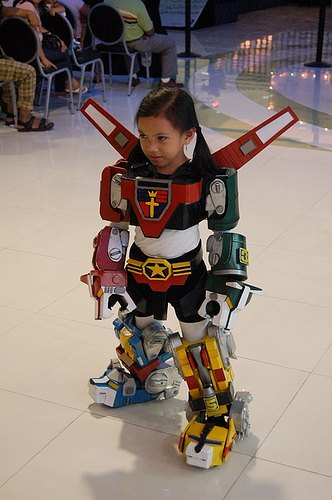 Little girl dressed as Christian Power Rangers