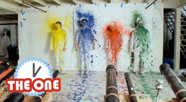 OK Go splattered with paint
