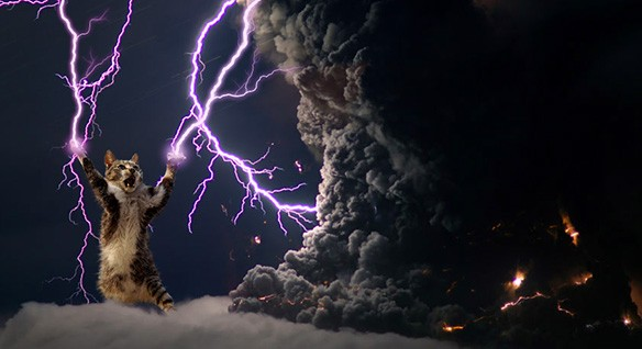 Cat shoots lightning at volcanic ash