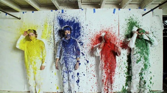 ok go get shot with paint in their rube goldberg video