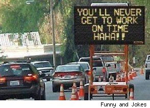 hacked digital road sign