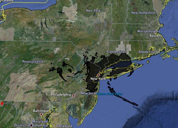 bp oil spill compared to new york city map