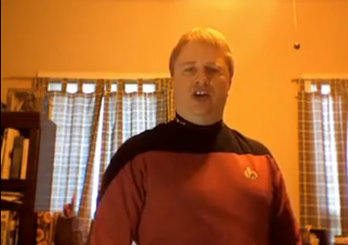 Guy in Star Trek uniform