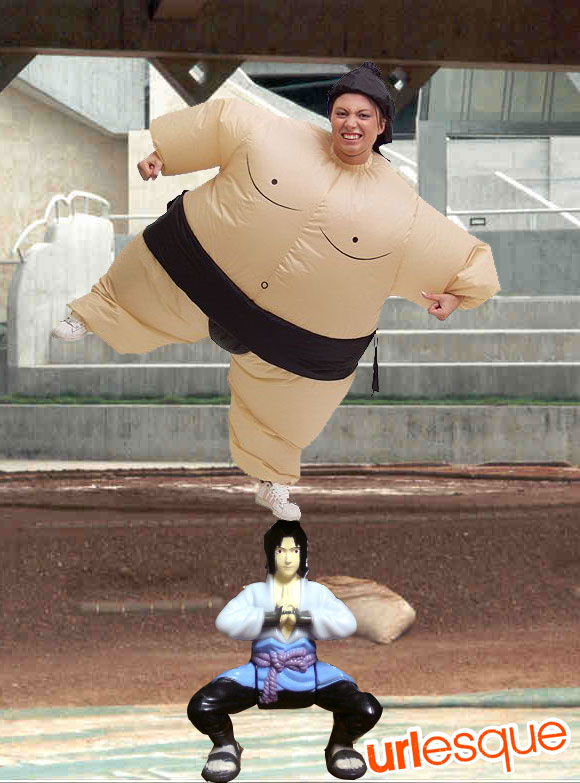Sasuke Balances a Girl in a Sumo Costume
