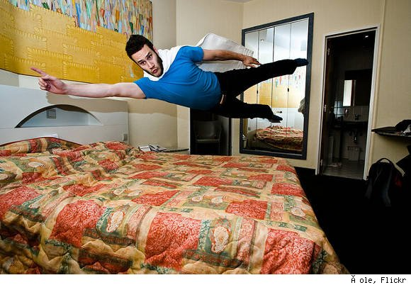 flying over bed