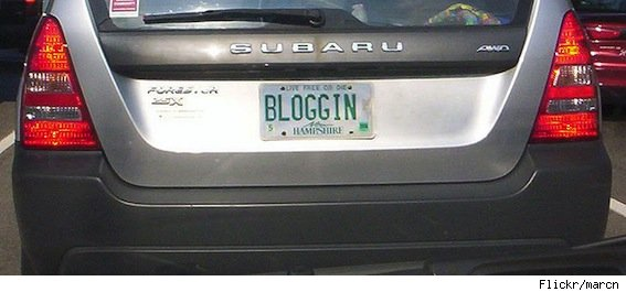 vanity plate: bloggin