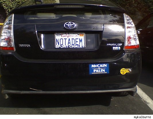 vanity plate: not a dem