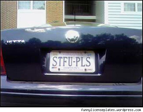 vanity plate: stfu-pls