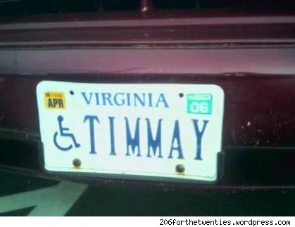 vanity plate: timmay