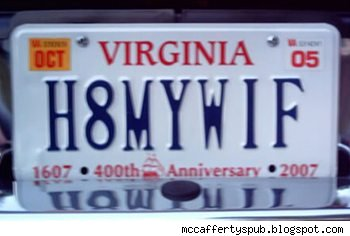 vanity plate: h8mywif