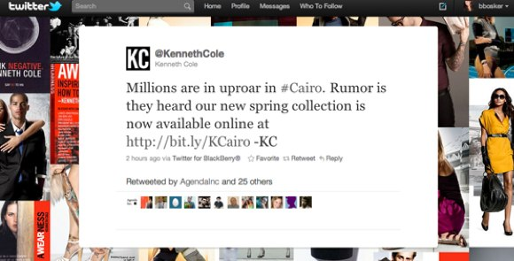 kenneth cole's tweet abused cairo hashtag on twitter by using egypt situation to promote shoes
