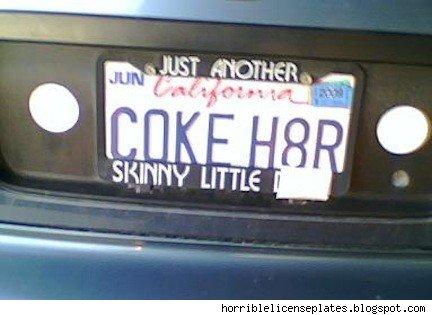 vanity plate: coke h8r
