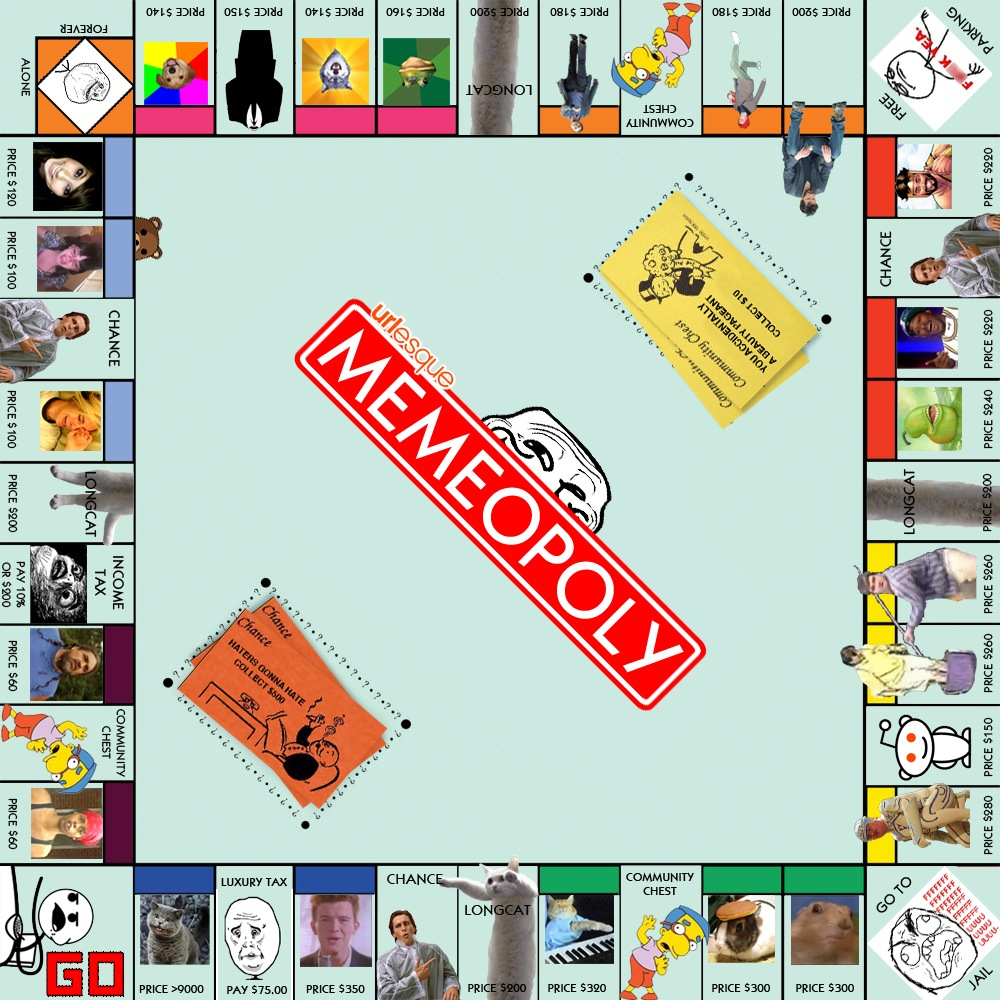 Memeopoly what the web looks like as a board game