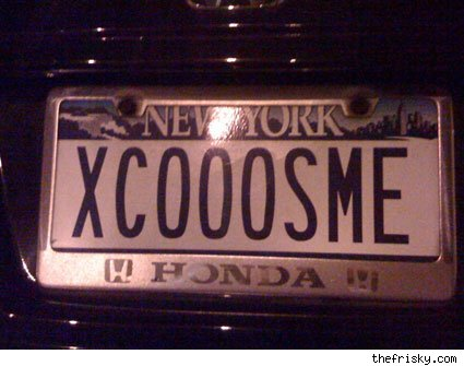 vanity plate: xcooosme