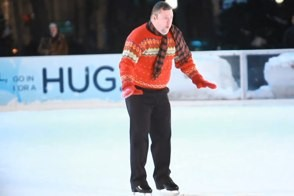 improv everywhere's worst ice skater ever struggles to get his footing during a prank