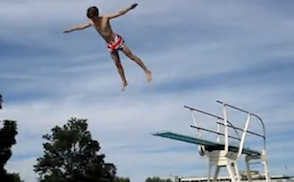 belly flop off diving board