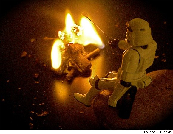 storm trooper roasting marshmallows