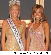 Dethroned Miss Nevada USA Katie Rees (left) and new Miss Nevada USA Helen ...