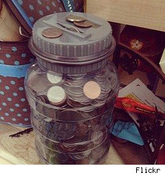 saving money using a coin jar