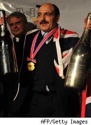 British sommelier Gerard Baset celebrates the victory in the Sommelier World Championship