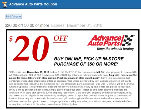 Car parts coupon code 2017