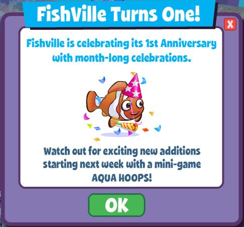 Happy Birthday FishVille: Celebrate 1 year anniversary ...