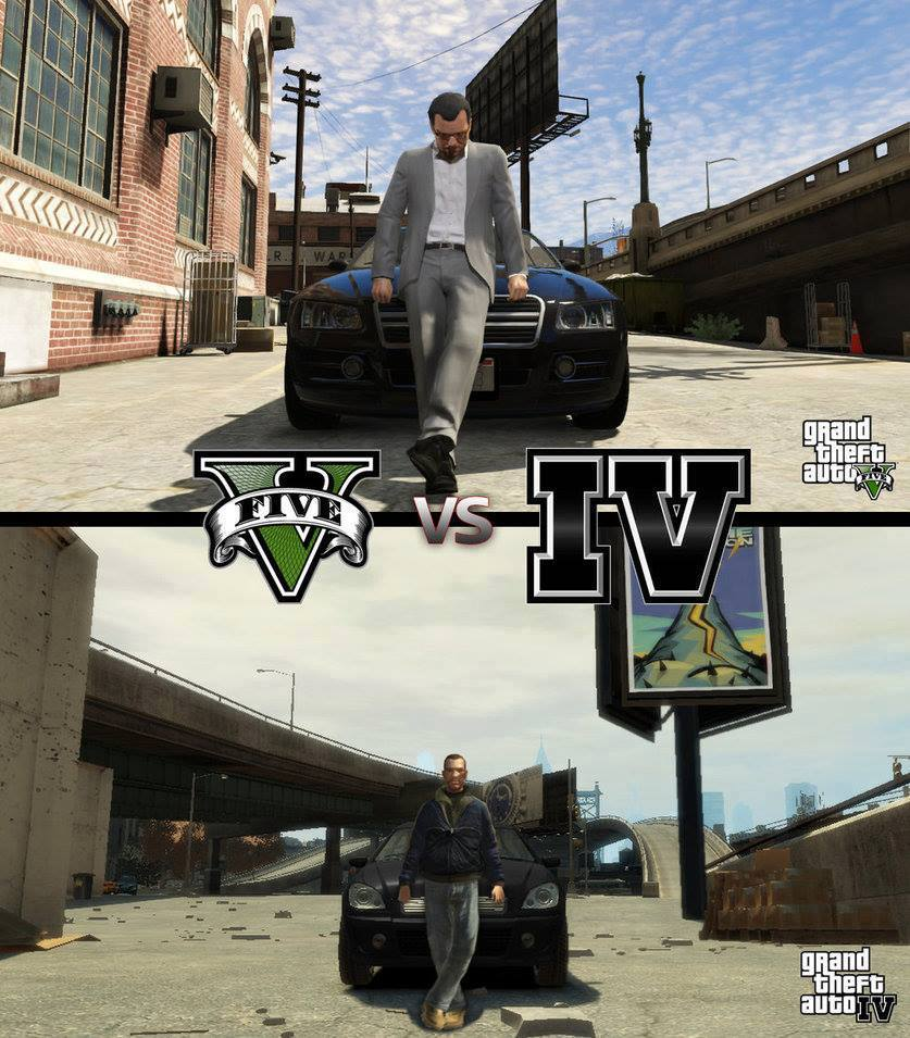 gta iv vs gta v graphic comparison aol games. Black Bedroom Furniture Sets. Home Design Ideas