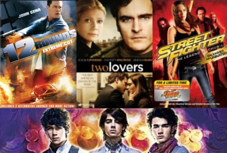 Clockwise from upper left: '12 Rounds,' 'Two Lovers,' 'Street Fighter,' 'Jonas Brothers'