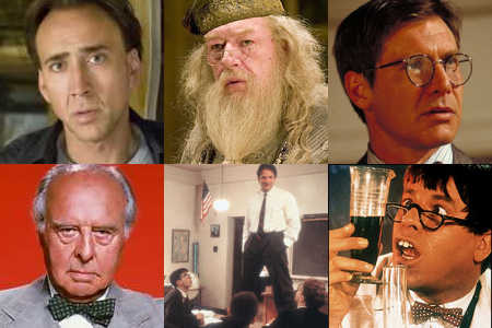 Clockwise from upper left: Nicolas Cage, Michael Cambon, Harrison Ford, Jerry Lewis, Robin Williams, John Houseman