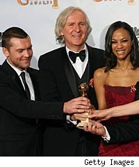 James Cameron and Avatar cast at the Golden Globes